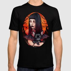 The Vamp and her BatPig SMALL Black Mens Fitted Tee