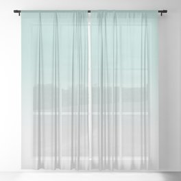 Ombre Duchess Teal and White Smoke Sheer Curtain
