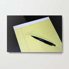 Notepad Pen Help Metal Print