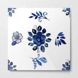 Blue Spanish Florals Metal Print