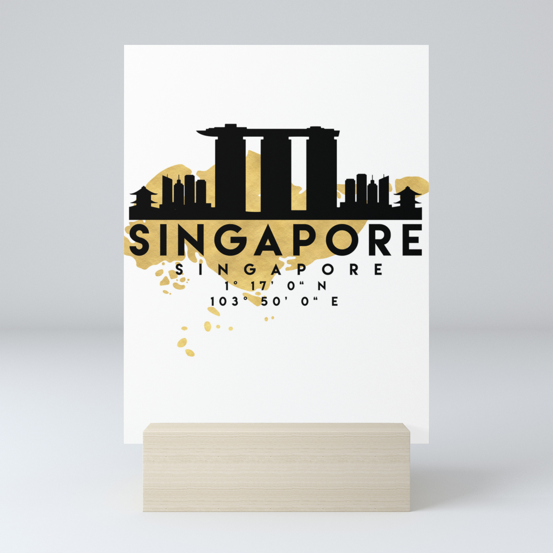 SINGAPORE SILHOUETTE SKYLINE MAP ART Mini Art Print by deificusart