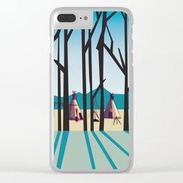 Sleepy Mountains Clear iPhone Case