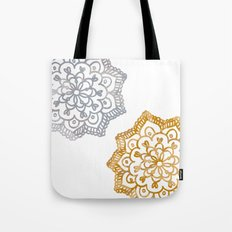 Gold and silver lace floral Tote Bag