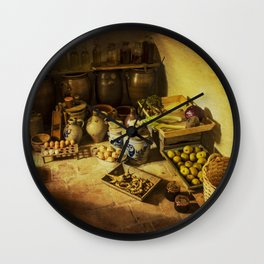 Harvest in the cellar of the farm Wall Clock