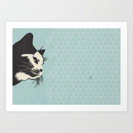 Cat on Blue - Lo Lah Studio Art Print