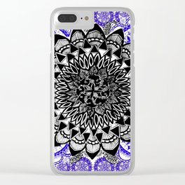 Blue and Black Patterned Mandala Clear iPhone Case