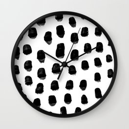 Kady - black and white ink spot minimal scandinavian pattern art hipster Wall Clock