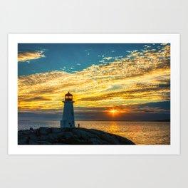 Golden Sky at Peggy's Cove Lighthouse, Nova Scotia Art Print
