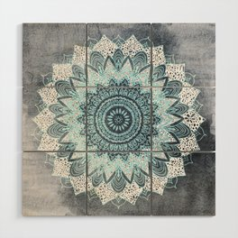 BOHOCHIC MANDALA IN BLUE Wood Wall Art
