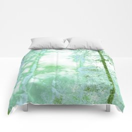 Magical forest in frosty greens Comforters