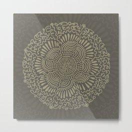 Neutral Wavy Circle Design Metal Print
