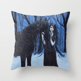 Midnight Travelers Gothic Fairy and Unicorn Throw Pillow