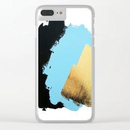 Black, Blue, Gold Clear iPhone Case