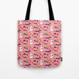Happy Halloween ghosts, bats, boo and sweets pattern Tote Bag