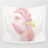 rooster Wall Tapestries featuring Rooster by Anna Dunlap Hartshorn