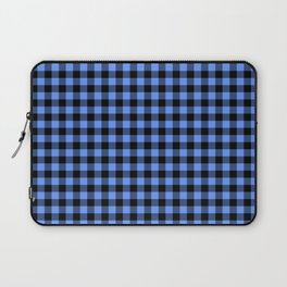 Classic Sky Blue Country Cottage Summer Buffalo Plaid Laptop Sleeve
