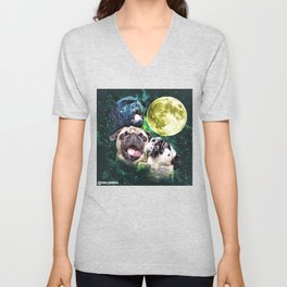 Howl at the Moon Pug Unisex V-Neck