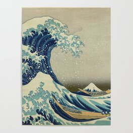 The Classic Japanese Great Wave off Kanagawa Print by Hokusai Poster