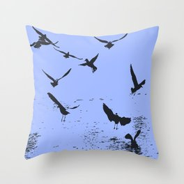 Silhouette Of A Flock Of Seagulls Over Water Vector Throw Pillow