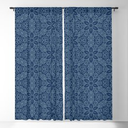Damask flower motif sashiko stitch pattern. Blackout Curtain