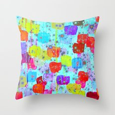 SPECKLE ME DOTTY - Bright Polka Dot Cheerful Aqua Turquoise Blue Rainbow Fine Art Abstract Painting Throw Pillow
