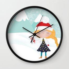 snow girl illustration Wall Clock