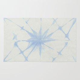 Shibori Starburst Sky Blue on Lunar Gray Rug