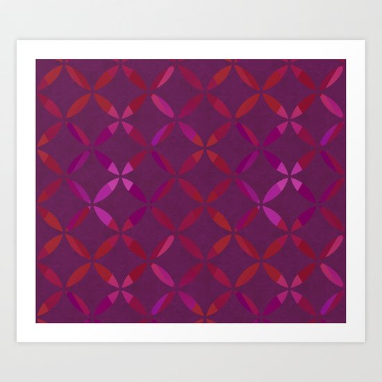 Fancy red and pink circle pattern Art Print