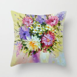 Bright bouquet of flowers  Throw Pillow