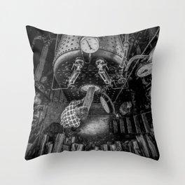The Paddle Steamer Fireman (black & white) Throw Pillow