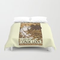 mucha Duvet Covers featuring Bride by Karen Hallion Illustrations