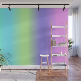 Spring - Pastel - Easter Greens Blues and Purple Vertical Stripes Gradient Wall Mural