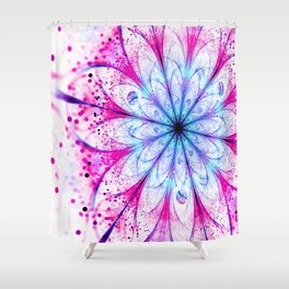 Winter Pink glittered Snowflake Shower Curtain