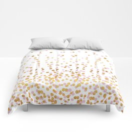 Floating Dots - Pink and Gold on White Comforters