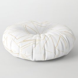 Modern Minimalist Gold White Strokes Triangles Floor Pillow