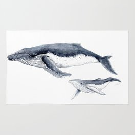Humpback whale with calf Rug