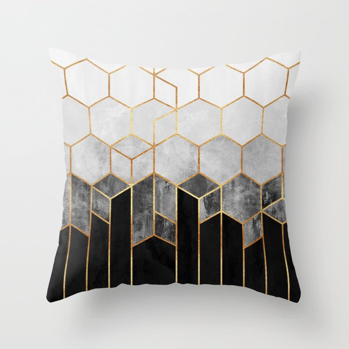 Charcoal Hexagons Deko-Kissen