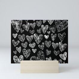 Wire Hearts Pattern in Black Mini Art Print