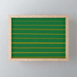 Emerald Green and Honey Gold Thin Stripes Framed Mini Art Print