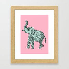 Elephant doodle in mint and pink. Framed Art Print