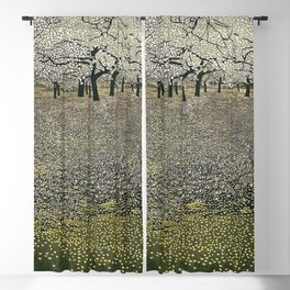 Apple Blossoms, Early Spring floral landscape painting by Gustav Klimt Blackout Curtain