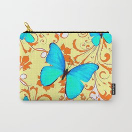 DECORATIVE BLUE BUTTERFLIES YELLOW FLORAL PATTERN Carry-All Pouch
