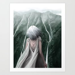 Girl  standing by a mountain Digital Art Painting Art Print