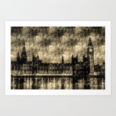 The Houses of Parliament London Vintage Art Print