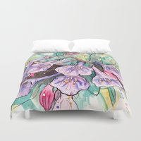 virginia Duvet Covers featuring virginia bluebells by Beth Jorgensen