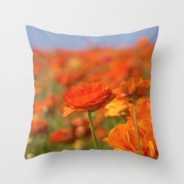 Orange Happiness Floral by Reay of Light Photography Throw Pillow