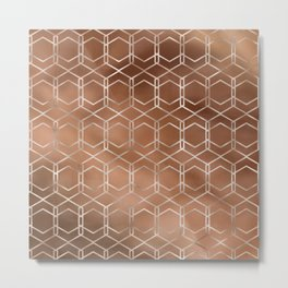 Copper & White Modern Geometric Pattern Metal Print