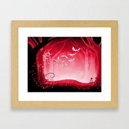 Dark Forest at Dawn in Ruby Framed Art Print