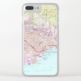 Vintage Map of Santa Barbara California (1952) Clear iPhone Case