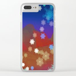 Mountains and Snowflakes Clear iPhone Case